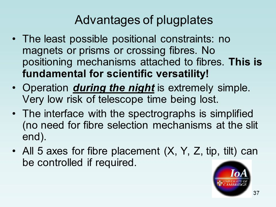 37 Advantages of plugplates The least possible positional constraints: no magnets or prisms or crossing fibres.