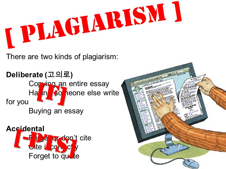 [ Plagiarism ] There are two kinds of plagiarism: Deliberate ( 고의로 ) Copying an entire essay Having someone else write for you Buying an essay Acciden
