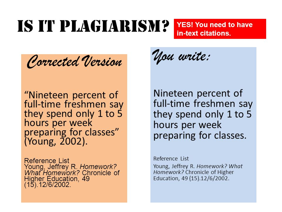 "Is it Plagiarism? You read: ""Nineteen percent of full-time freshmen say they spend only 1 to 5 hours per week preparing for classes…"" From: Young, Jef"