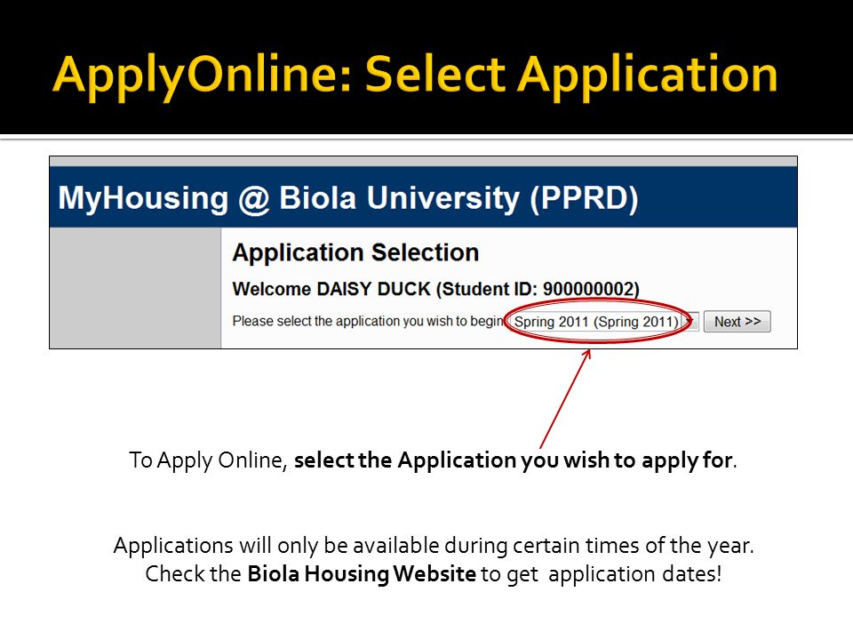 To Apply Online, select the Application you wish to apply for.