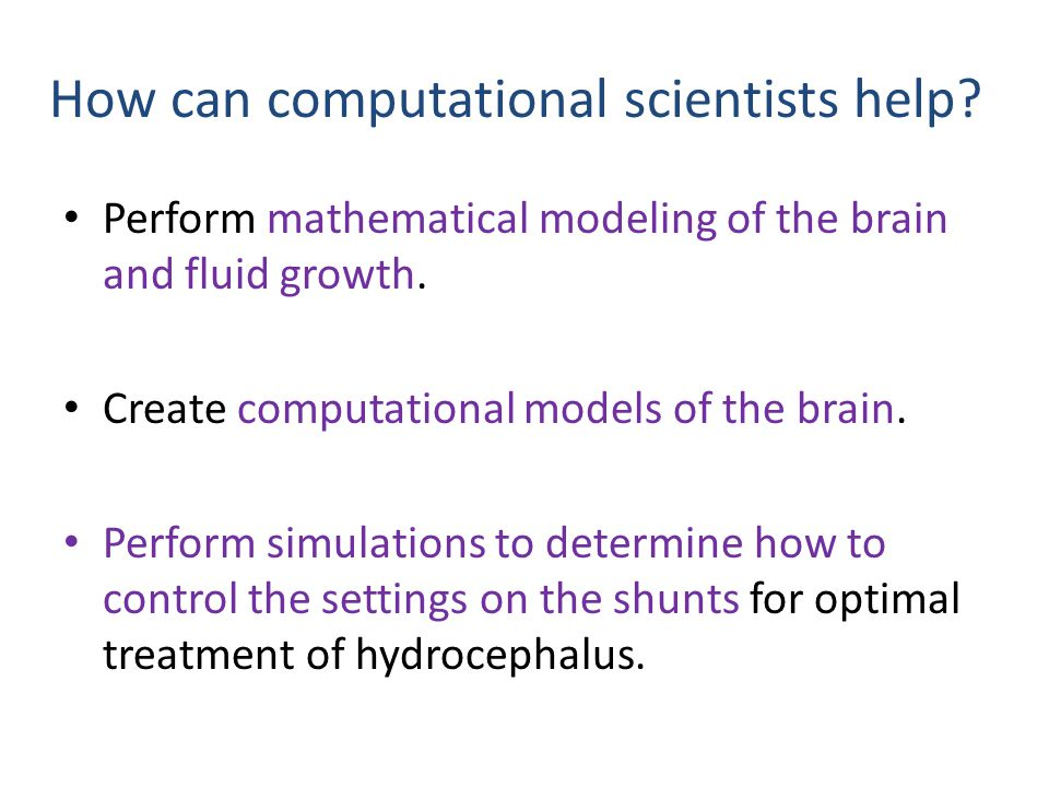 How can computational scientists help? Perform mathematical modeling of the brain and fluid growth. Create computational models of the brain. Perform
