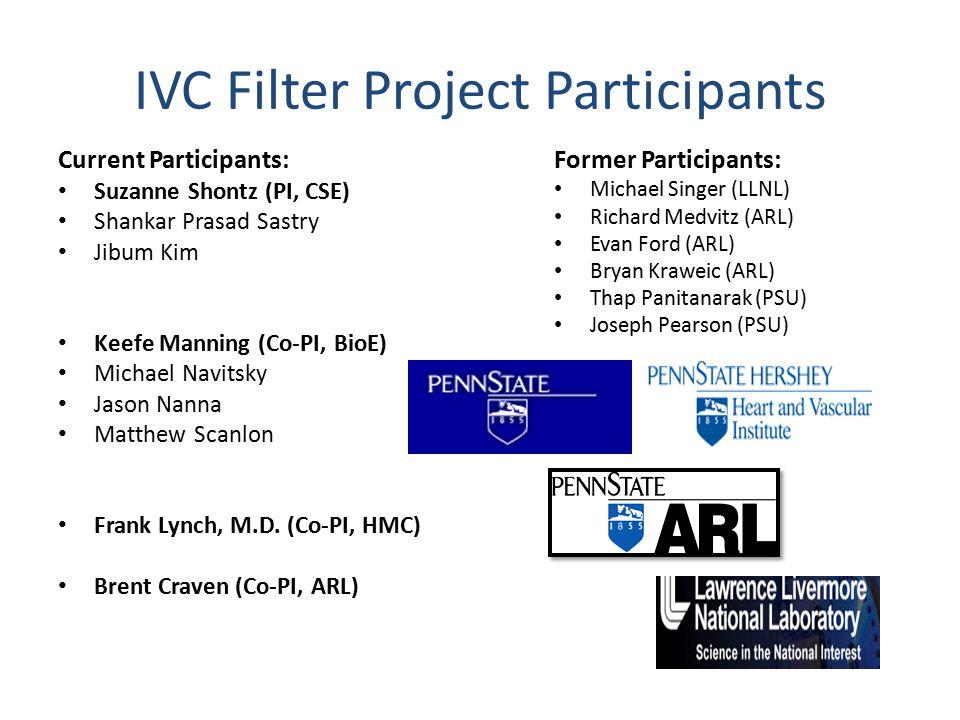 IVC Filter Project Participants Current Participants: Suzanne Shontz (PI, CSE) Shankar Prasad Sastry Jibum Kim Keefe Manning (Co-PI, BioE) Michael Navitsky Jason Nanna Matthew Scanlon Frank Lynch, M.D.