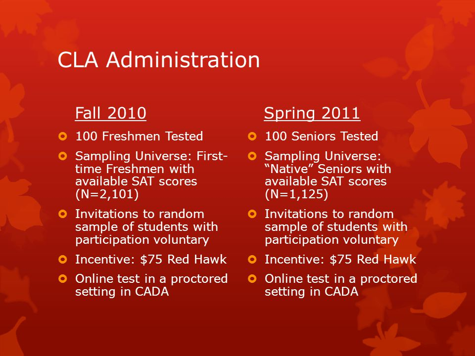 CLA Administration Fall 2010  100 Freshmen Tested  Sampling Universe: First- time Freshmen with available SAT scores (N=2,101)  Invitations to random sample of students with participation voluntary  Incentive: $75 Red Hawk  Online test in a proctored setting in CADA Spring 2011  100 Seniors Tested  Sampling Universe: Native Seniors with available SAT scores (N=1,125)  Invitations to random sample of students with participation voluntary  Incentive: $75 Red Hawk  Online test in a proctored setting in CADA