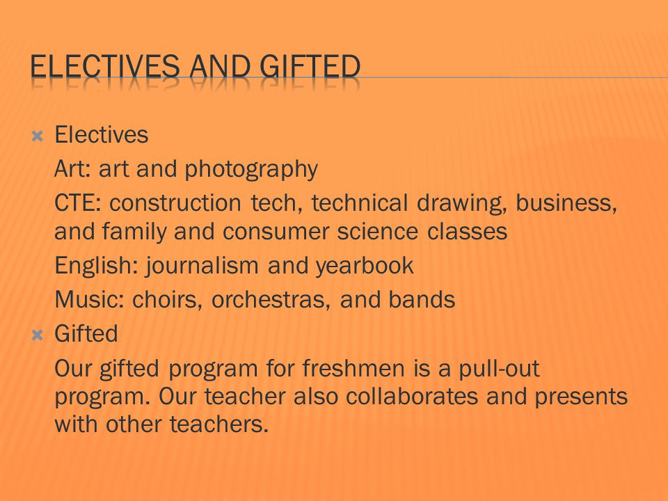  Electives Art: art and photography CTE: construction tech, technical drawing, business, and family and consumer science classes English: journalism and yearbook Music: choirs, orchestras, and bands  Gifted Our gifted program for freshmen is a pull-out program.