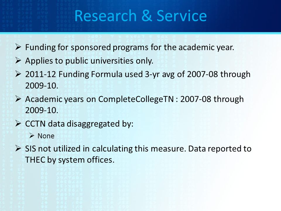 Research & Service  Funding for sponsored programs for the academic year.