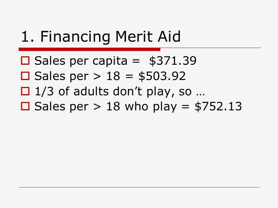 1. Financing Merit Aid  Sales per capita = $371.39  Sales per > 18 = $503.92  1/3 of adults don't play, so …  Sales per > 18 who play = $752.13