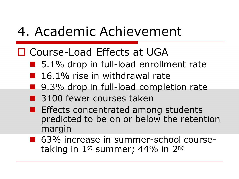 4. Academic Achievement  Course-Load Effects at UGA 5.1% drop in full-load enrollment rate 16.1% rise in withdrawal rate 9.3% drop in full-load compl