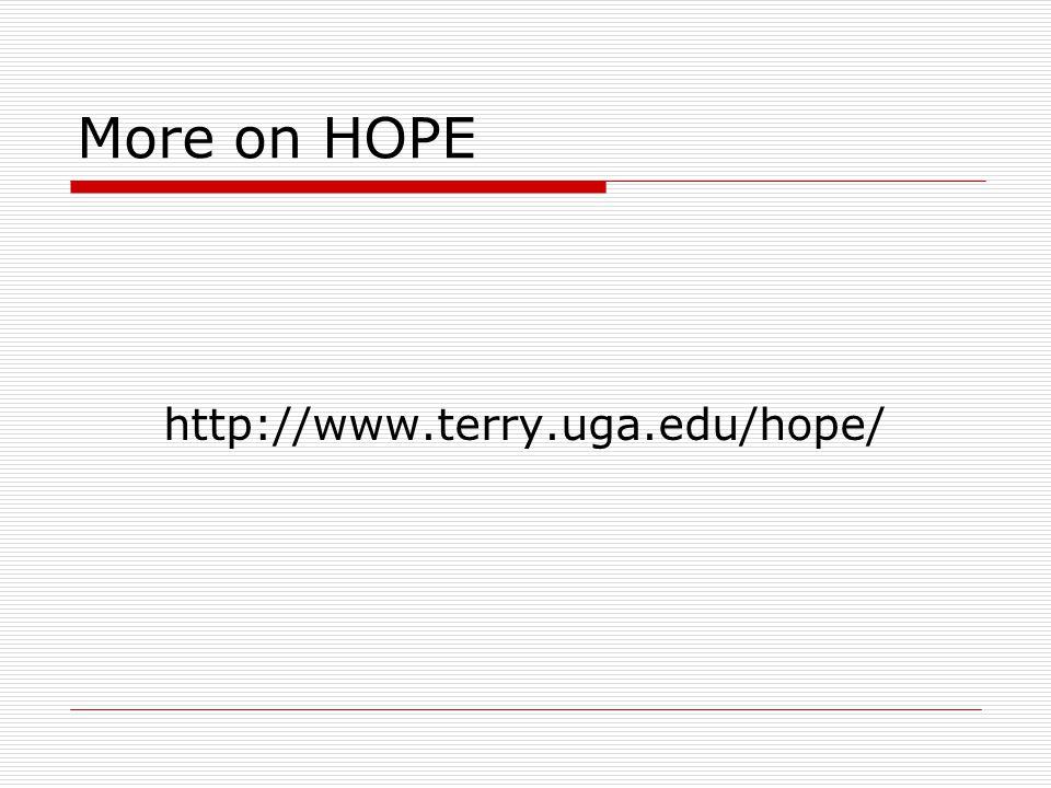 More on HOPE http://www.terry.uga.edu/hope/