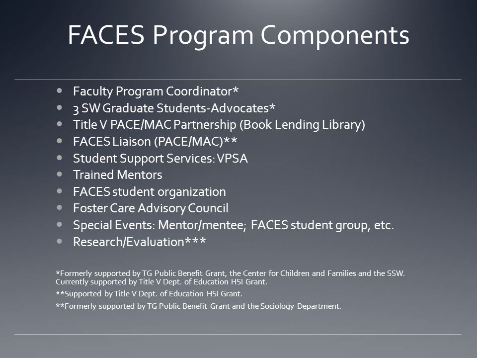 FACES Program Components Faculty Program Coordinator* 3 SW Graduate Students-Advocates* Title V PACE/MAC Partnership (Book Lending Library) FACES Liai