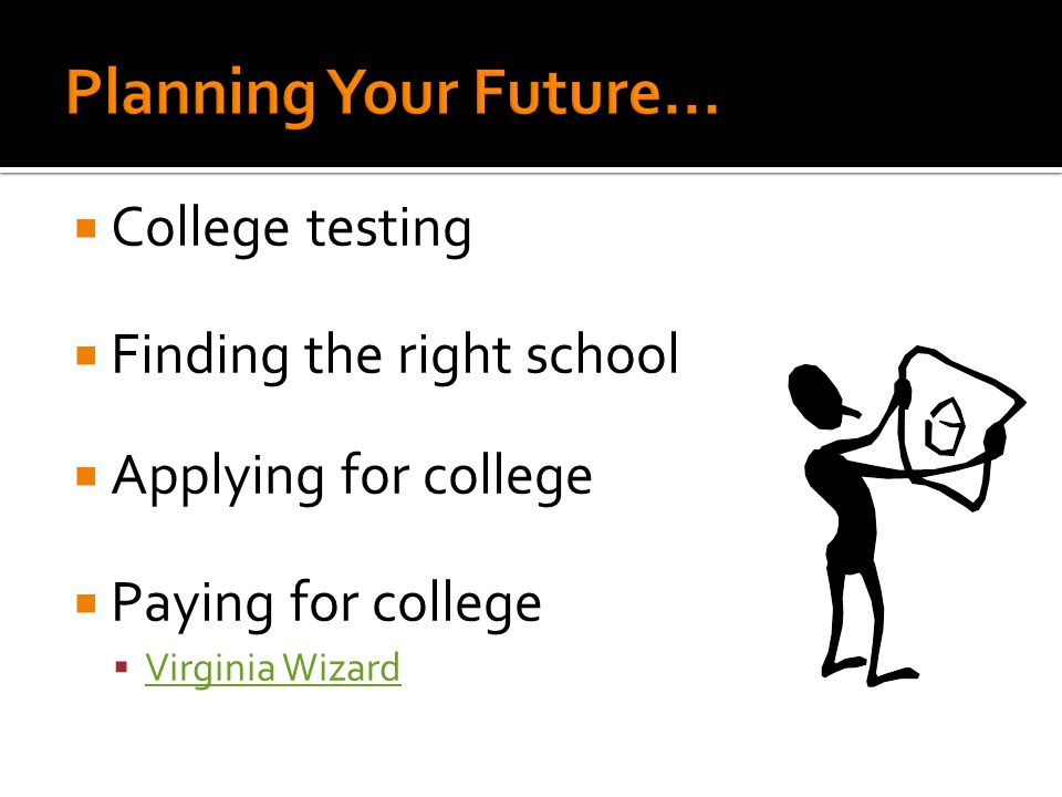  College testing  Finding the right school  Applying for college  Paying for college  Virginia Wizard Virginia Wizard