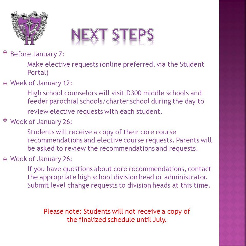 Before January 7: Make elective requests (online preferred, via the Student Portal)  Week of January 12: High school counselors will visit D300 middle schools and feeder parochial schools/charter school during the day to review elective requests with each student.