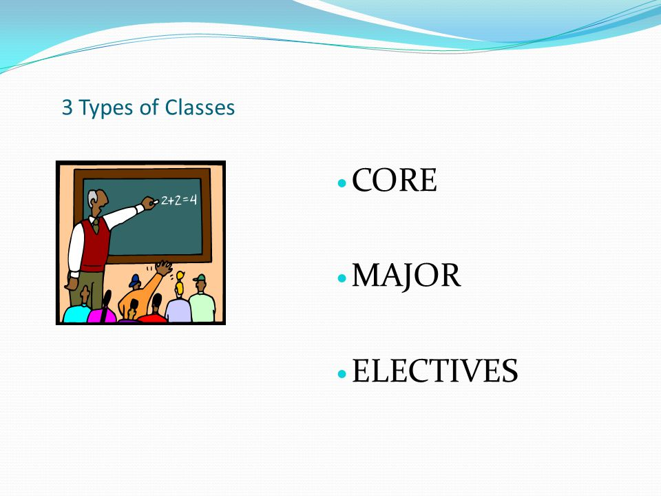 3 Types of Classes CORE MAJOR ELECTIVES