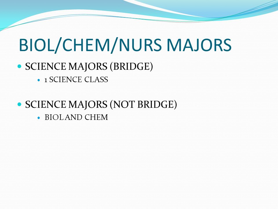 BIOL/CHEM/NURS MAJORS SCIENCE MAJORS (BRIDGE) 1 SCIENCE CLASS SCIENCE MAJORS (NOT BRIDGE) BIOL AND CHEM