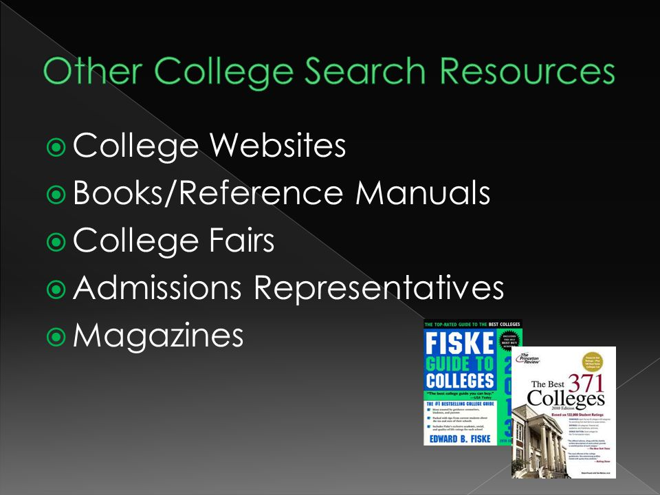  College Websites  Books/Reference Manuals  College Fairs  Admissions Representatives  Magazines