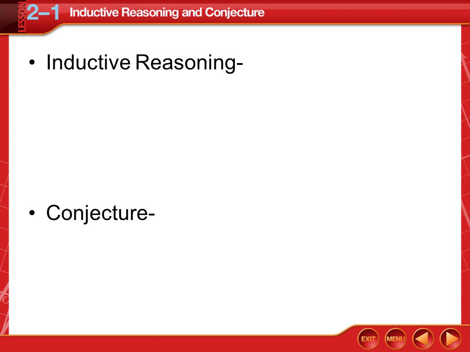 Example 1 Patterns and Conjecture A.