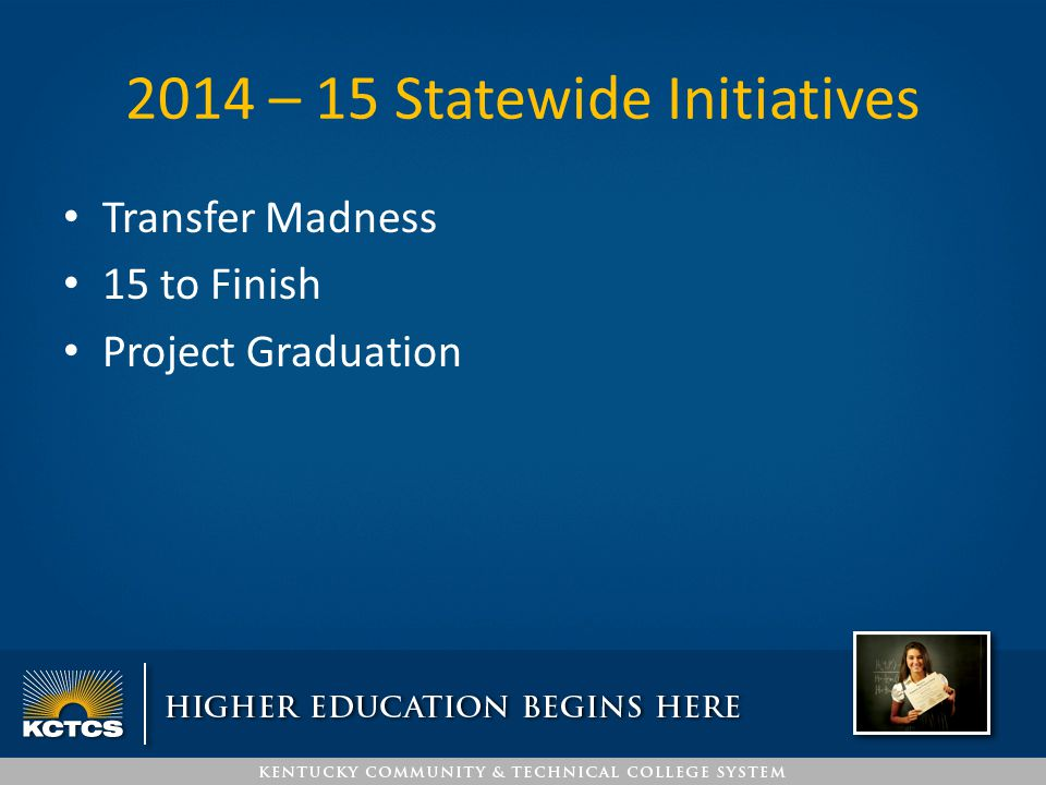 2014 – 15 Statewide Initiatives Transfer Madness 15 to Finish Project Graduation
