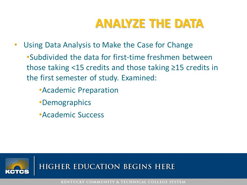 ANALYZE THE DATA Using Data Analysis to Make the Case for Change Subdivided the data for first-time freshmen between those taking <15 credits and thos