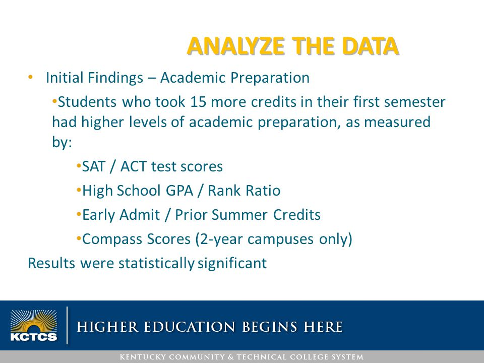 ANALYZE THE DATA Initial Findings – Academic Preparation Students who took 15 more credits in their first semester had higher levels of academic prepa