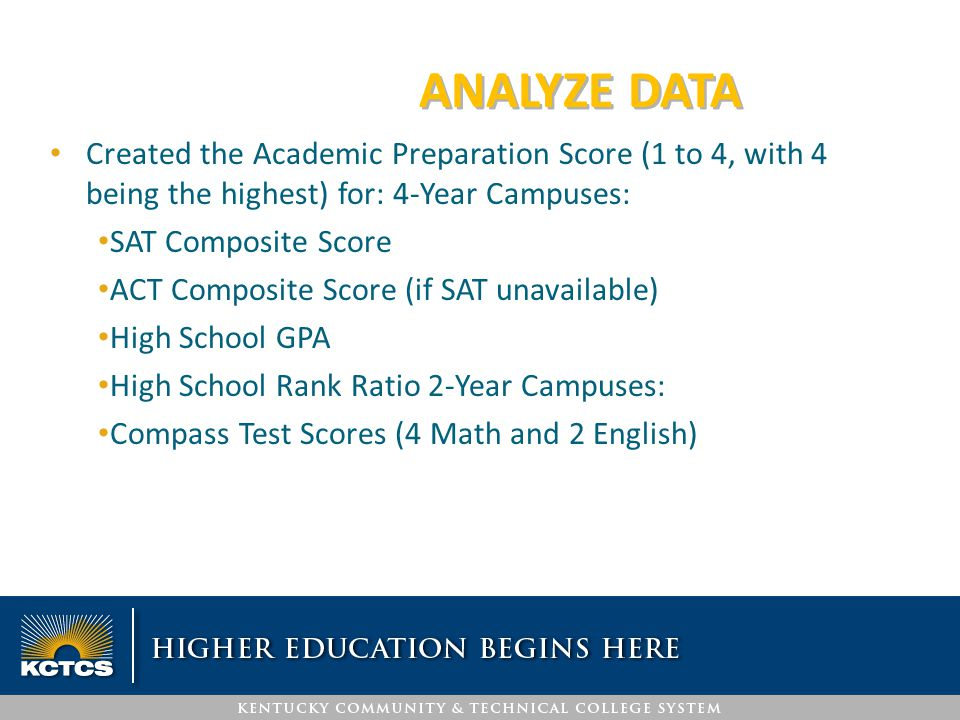 ANALYZE DATA Created the Academic Preparation Score (1 to 4, with 4 being the highest) for: 4-Year Campuses: SAT Composite Score ACT Composite Score (
