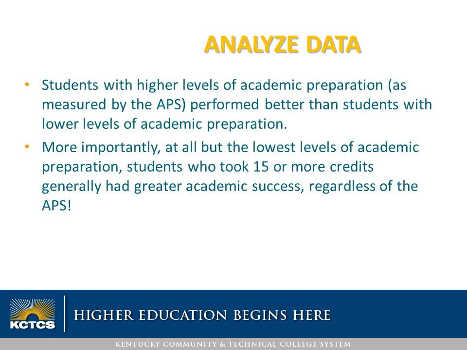 ANALYZE DATA Students with higher levels of academic preparation (as measured by the APS) performed better than students with lower levels of academic