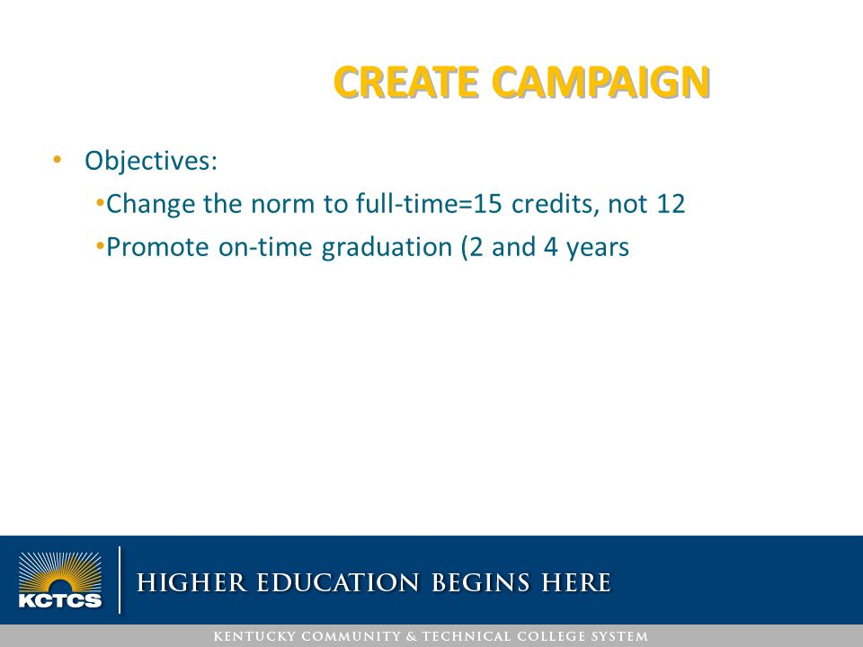 CREATE CAMPAIGN Objectives: Change the norm to full-time=15 credits, not 12 Promote on-time graduation (2 and 4 years)