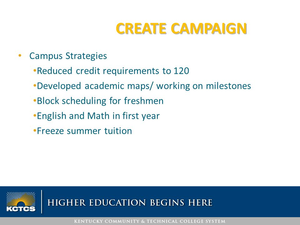 CREATE CAMPAIGN Campus Strategies Reduced credit requirements to 120 Developed academic maps/ working on milestones Block scheduling for freshmen Engl