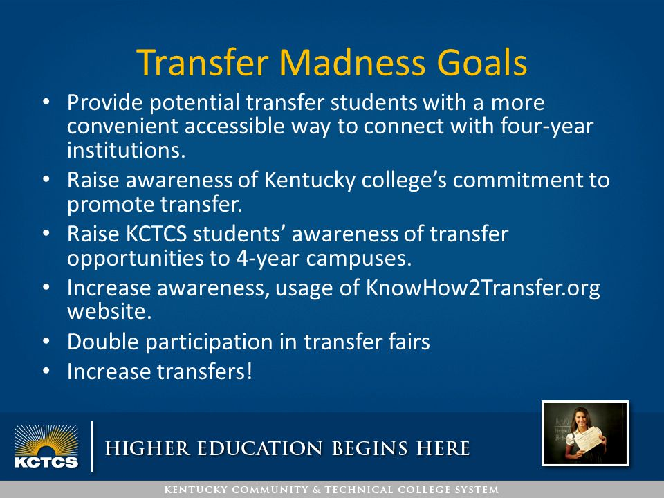 Transfer Madness Goals Provide potential transfer students with a more convenient accessible way to connect with four-year institutions. Raise awarene