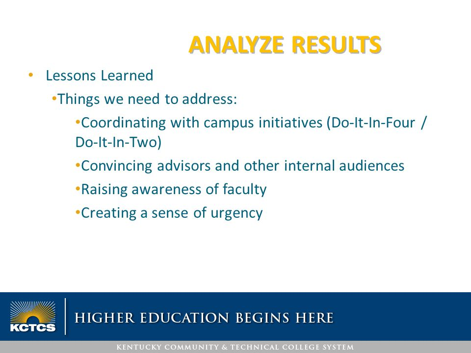 ANALYZE RESULTS Lessons Learned Things we need to address: Coordinating with campus initiatives (Do-It-In-Four / Do-It-In-Two) Convincing advisors and