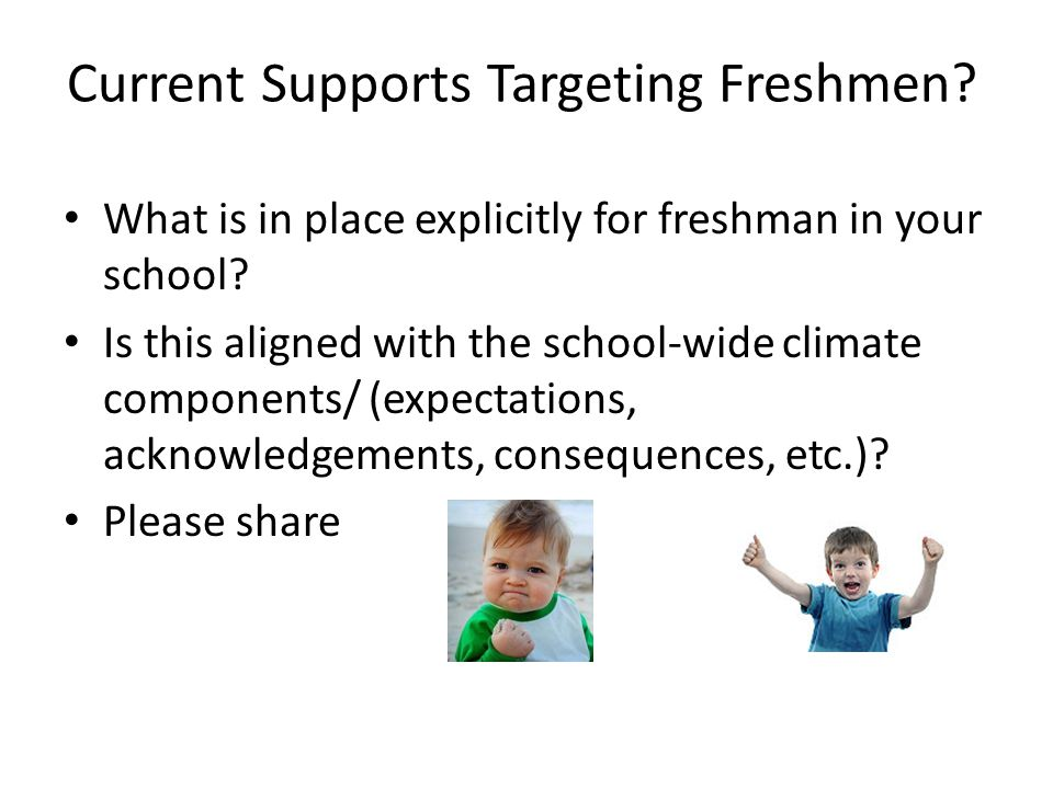 Current Supports Targeting Freshmen. What is in place explicitly for freshman in your school.