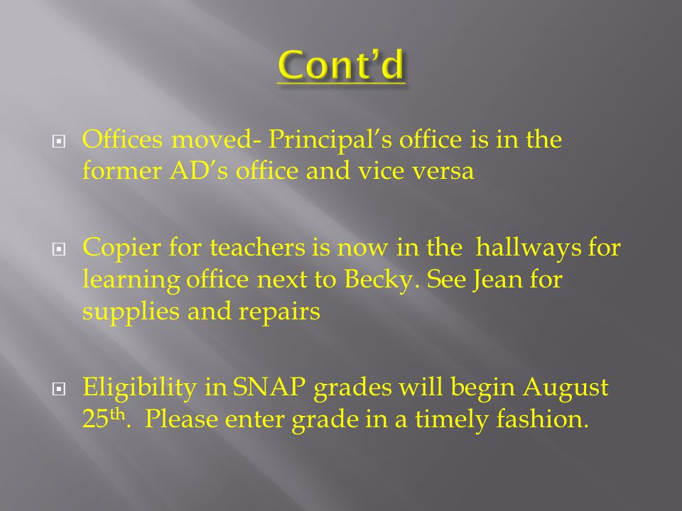  Offices moved- Principal's office is in the former AD's office and vice versa  Copier for teachers is now in the hallways for learning office next