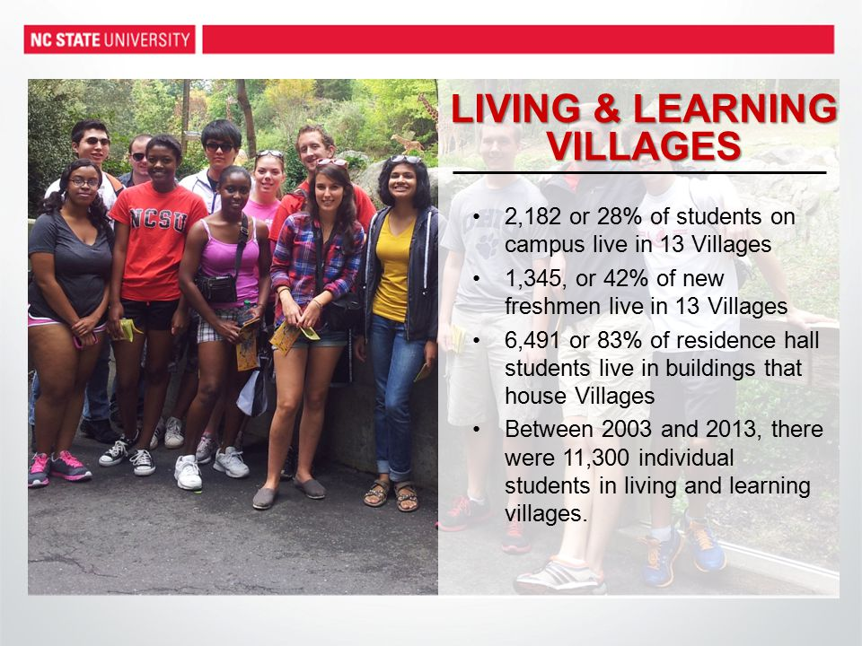 LIVING & LEARNING VILLAGES 2,182 or 28% of students on campus live in 13 Villages 1,345, or 42% of new freshmen live in 13 Villages 6,491 or 83% of residence hall students live in buildings that house Villages Between 2003 and 2013, there were 11,300 individual students in living and learning villages.