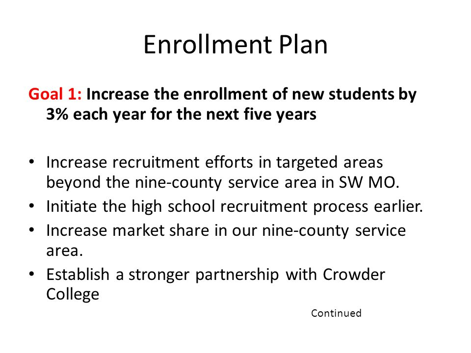 Enrollment Plan Goal 1: Increase the enrollment of new students by 3% each year for the next five years Increase recruitment efforts in targeted areas beyond the nine-county service area in SW MO.