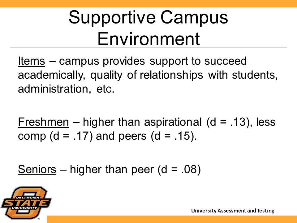 University Assessment and Testing Supportive Campus Environment Items – campus provides support to succeed academically, quality of relationships with students, administration, etc.