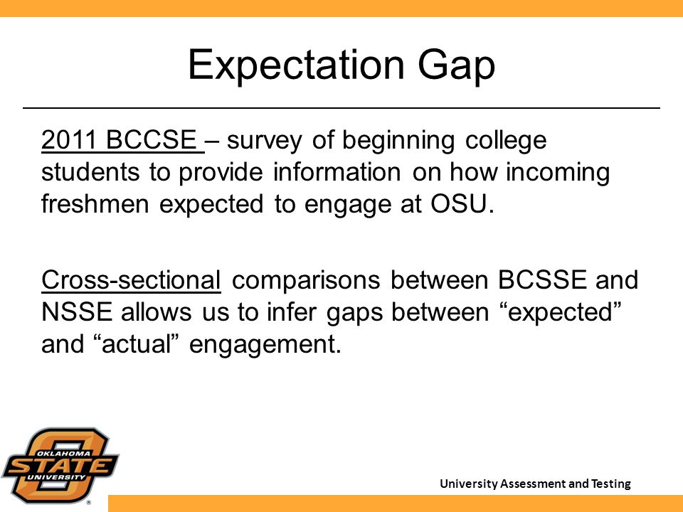 University Assessment and Testing Expectation Gap 2011 BCCSE – survey of beginning college students to provide information on how incoming freshmen ex