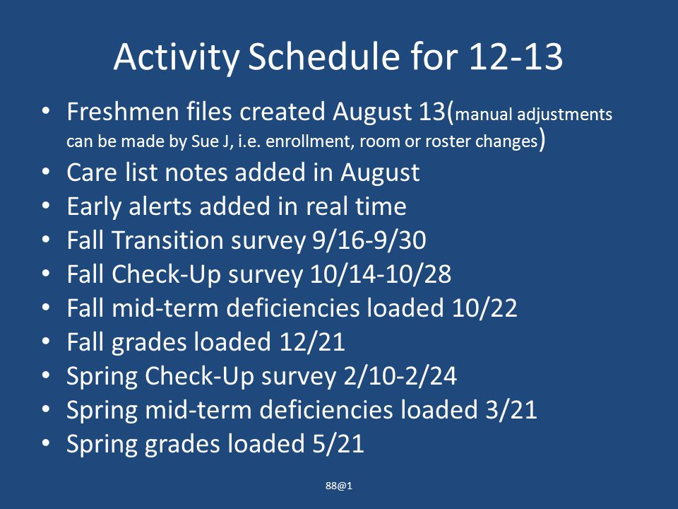 Activity Schedule for 12-13 Freshmen files created August 13( manual adjustments can be made by Sue J, i.e.