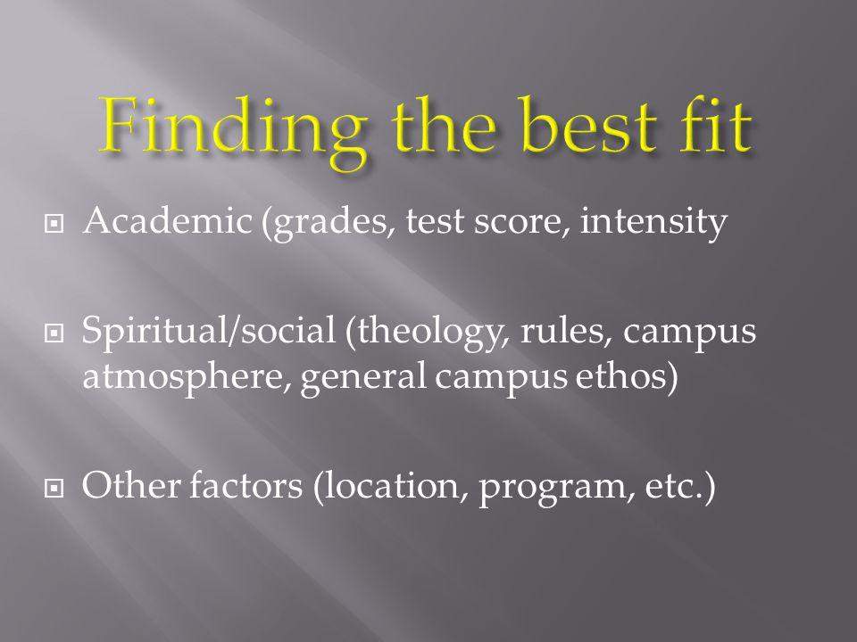  Academic (grades, test score, intensity  Spiritual/social (theology, rules, campus atmosphere, general campus ethos)  Other factors (location, program, etc.)