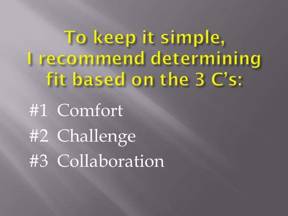 #1 Comfort #2 Challenge #3 Collaboration