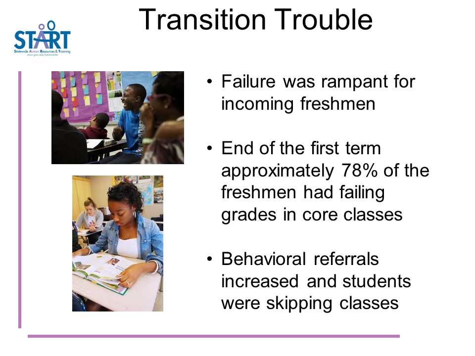 Transition Trouble Failure was rampant for incoming freshmen End of the first term approximately 78% of the freshmen had failing grades in core classes Behavioral referrals increased and students were skipping classes