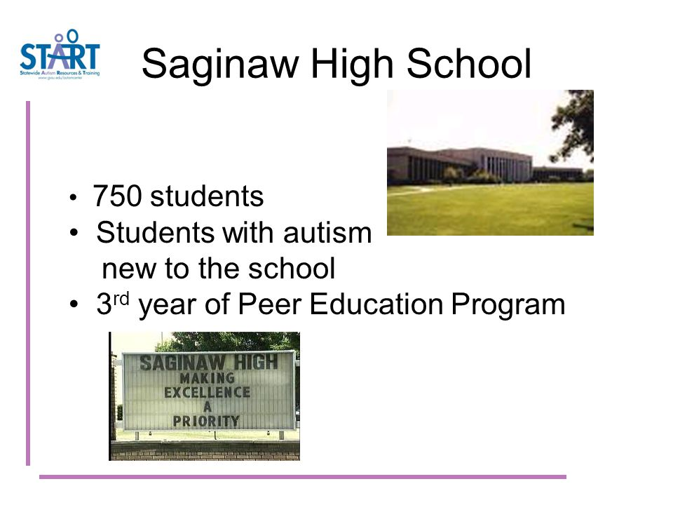 Saginaw High School 750 students Students with autism new to the school 3 rd year of Peer Education Program