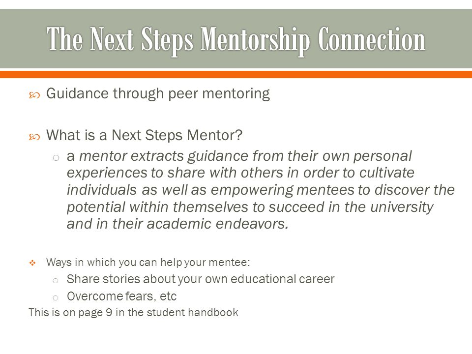  Guidance through peer mentoring  What is a Next Steps Mentor.