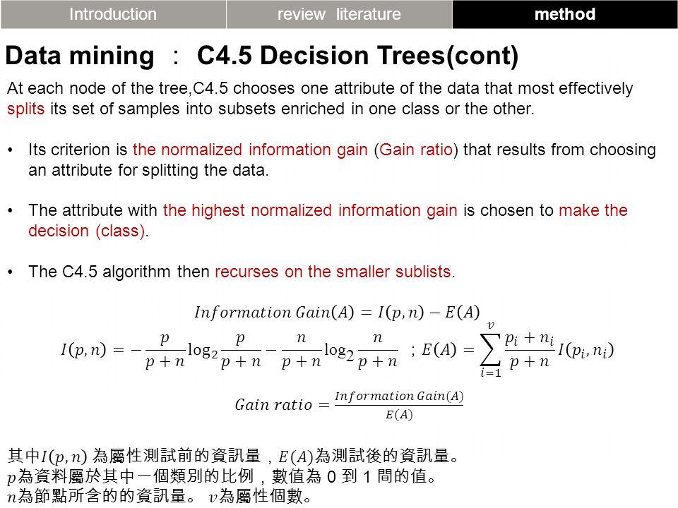 Introductionreview literaturemethod Data mining : C4.5 Decision Trees(cont)