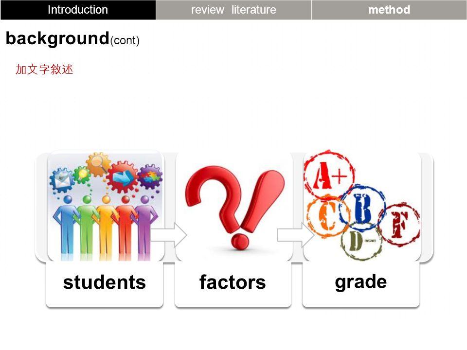 studentsfactors grade Introductionreview literaturemethod background (cont) 加文字敘述