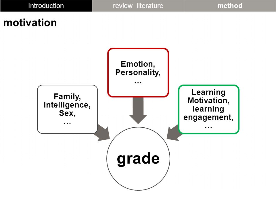 Introductionreview literaturemethod motivation grade Family, Intelligence, Sex, … Emotion, Personality, … Learning Motivation, learning engagement, …