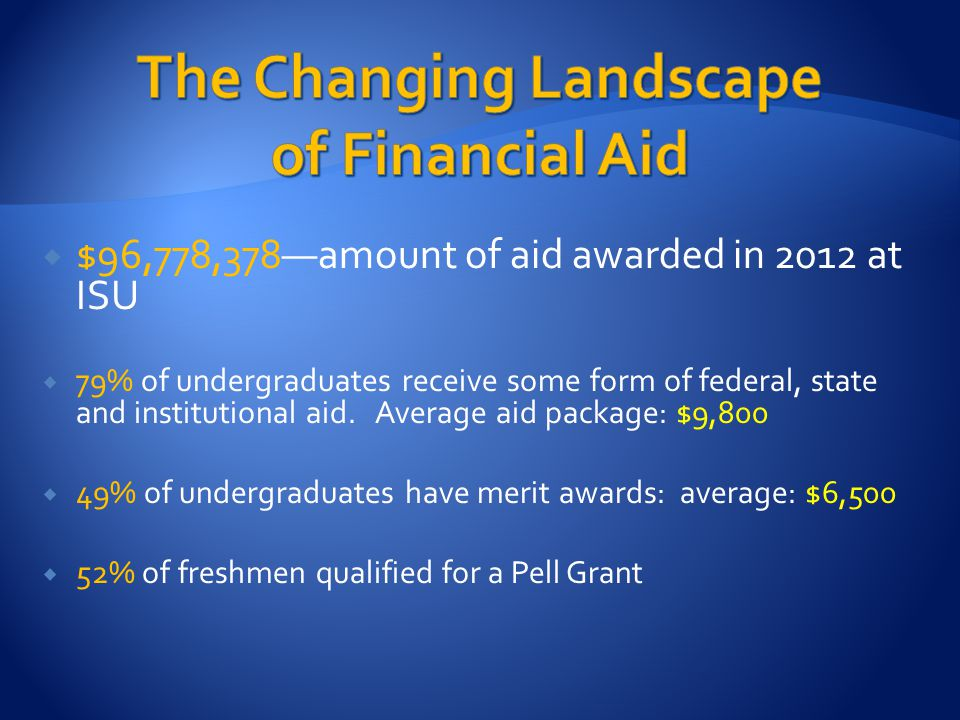  $96,778,378—amount of aid awarded in 2012 at ISU  79% of undergraduates receive some form of federal, state and institutional aid. Average aid pack