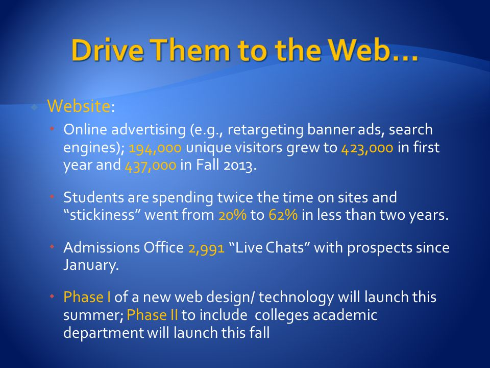  Website:  Online advertising (e.g., retargeting banner ads, search engines); 194,000 unique visitors grew to 423,000 in first year and 437,000 in Fall 2013.
