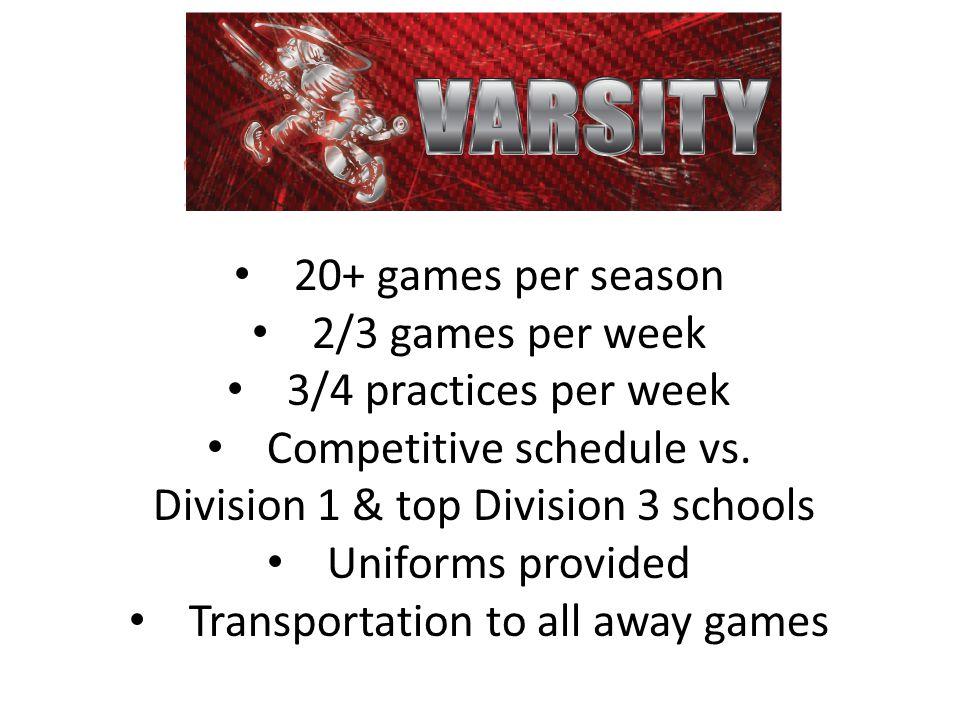 20+ games per season 2/3 games per week 3/4 practices per week Competitive schedule vs.