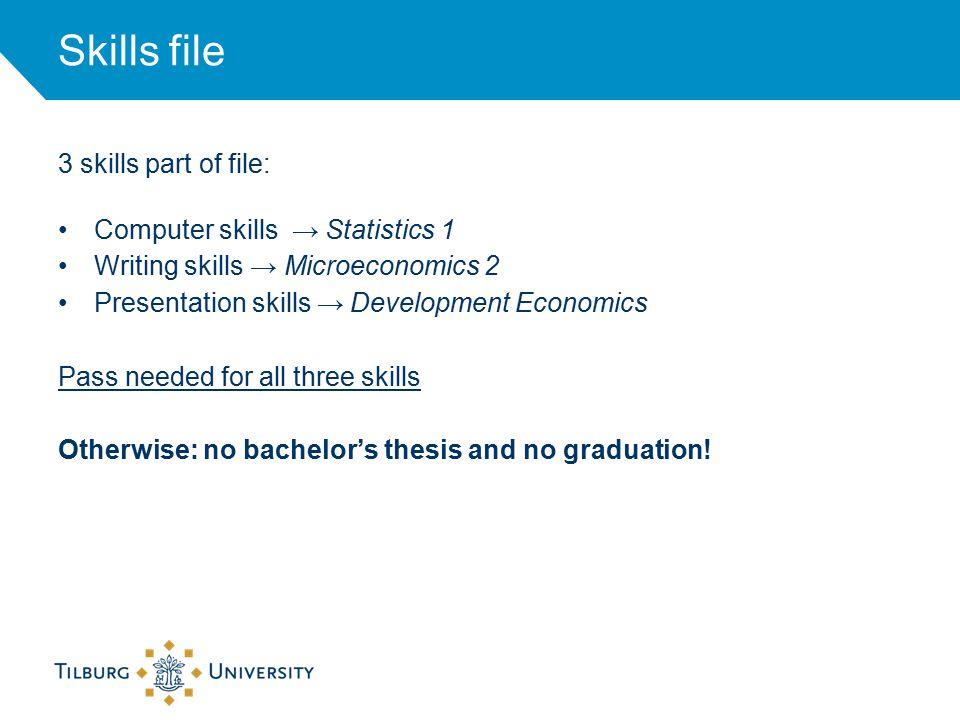 Skills file 3 skills part of file: Computer skills → Statistics 1 Writing skills → Microeconomics 2 Presentation skills → Development Economics Pass needed for all three skills Otherwise: no bachelor's thesis and no graduation!