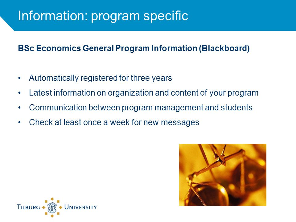 Information: program specific BSc Economics General Program Information (Blackboard) Automatically registered for three years Latest information on organization and content of your program Communication between program management and students Check at least once a week for new messages
