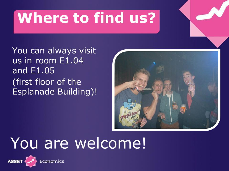 You can always visit us in room E1.04 and E1.05 (first floor of the Esplanade Building).