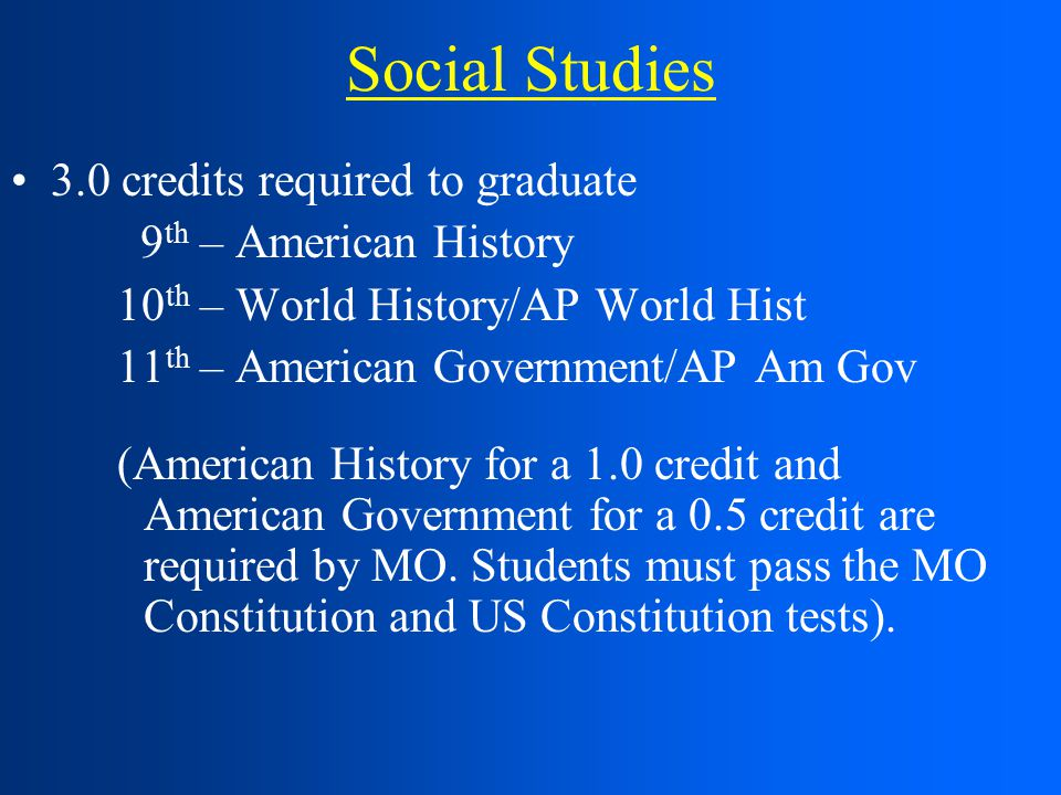 Social Studies 3.0 credits required to graduate 9 th – American History 10 th – World History/AP World Hist 11 th – American Government/AP Am Gov (American History for a 1.0 credit and American Government for a 0.5 credit are required by MO.